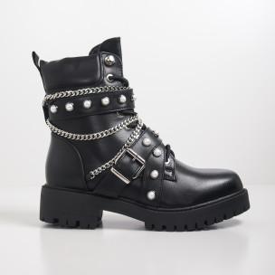 Рокерски дамски черни боти с перли