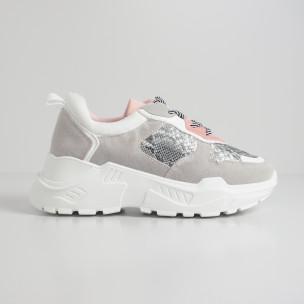 Сиво-розови дамски маратонки Snake мотив  2