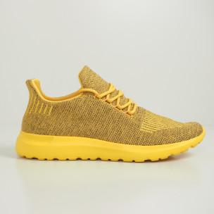 Мъжки маратонки жълт меланж с декорация 2