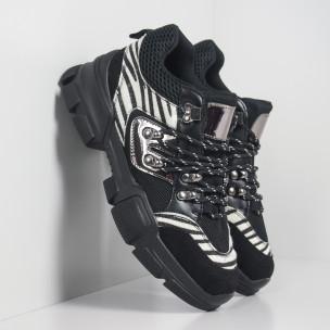 Дамски спортни обувки тип Hiker черно и зебра 2