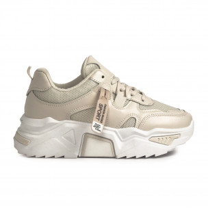 Chunky светлобежови дамски маратонки Sweet Shoes