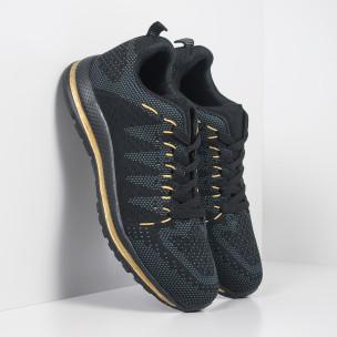 Плетени мъжки маратонки в черно и златисто
