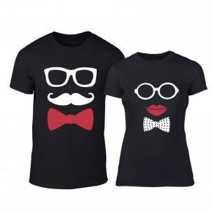 Тениски за двойки Hipster Parts черни