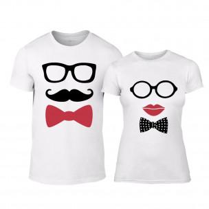Тениски за двойки Hipster Parts бели TEEMAN