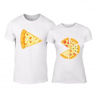 Тениски за двойки Pizza бели TEEMAN