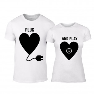 Тениски за двойки Plug And Play бели TEEMAN
