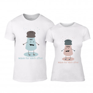 Тениски за двойки Salt and Pepper бели