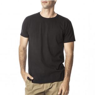 Мъжка черна памучна тениска базов модел