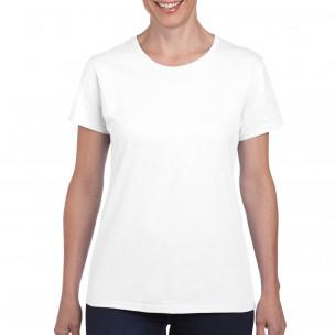 Дамска бяла памучна тениска базов модел