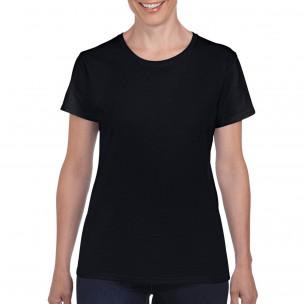 Дамска черна памучна тениска базов модел