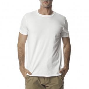 Мъжка бяла памучна тениска базов модел