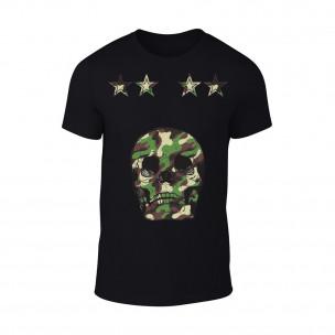 Мъжка черна тениска Military Skull