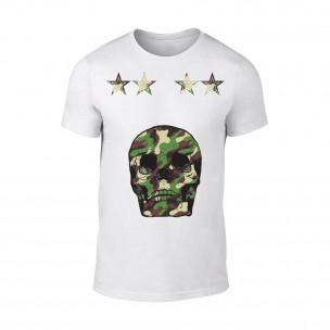 Мъжка бяла тениска Military Skull