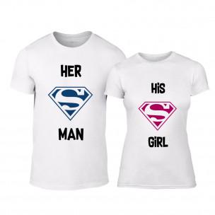 Тениски за двойки Superman Supergirl бели