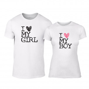 Тениски за двойки Love My Girl Love My Boy бели