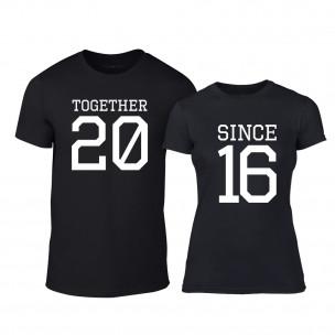 Тениски за двойки Together Since 2016 черни