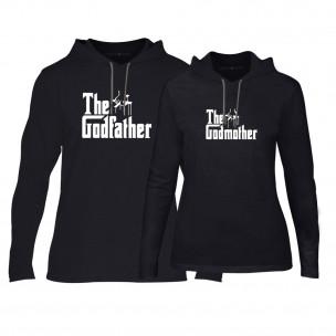 Суичъри за двойки Godfather & Godmother в черно