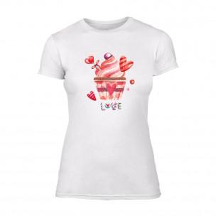 Дамска бяла тениска Sweets