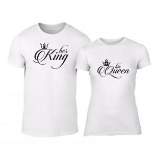 Тениски за двойки King & Queen бели TEEMAN