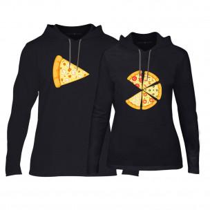 Суичъри за двойки Pizza в черно