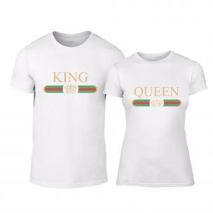 Тениски за двойки Fashion King Queen бели