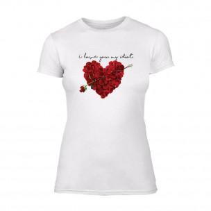 Дамска бяла тениска Roseheart