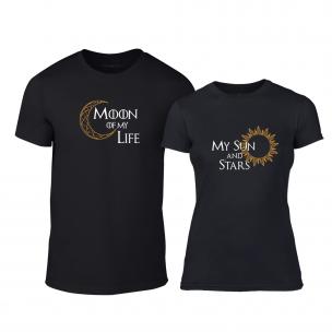 Тениски за двойки Sun & Moon черни