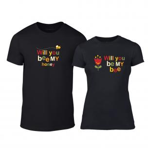Тениски за двойки Bee & Honey черни