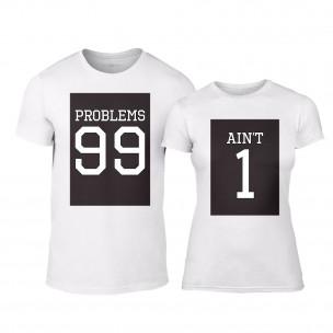 Тениски за двойки 99 Problems Aint 1 бели