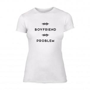 Дамска бяла тениска No Boyfirend No Problem