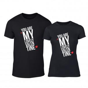 Тениски за двойки My Lovely Valentine черни