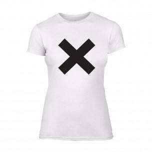 Дамска бяла тениска X