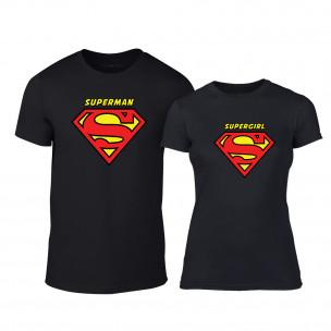Тениски за двойки Superman & Supergirl черни