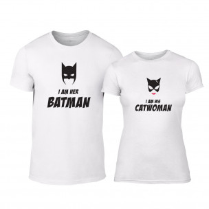 Тениски за двойки Batman & Catwoman бели