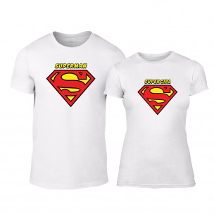Тениски за двойки Superman & Supergirl бели