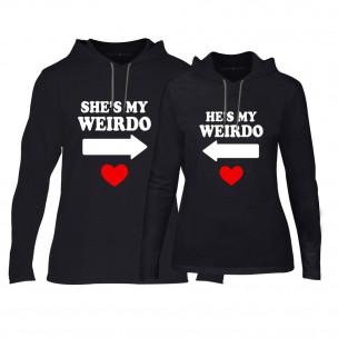 Суичъри за двойки Weirdo в черно