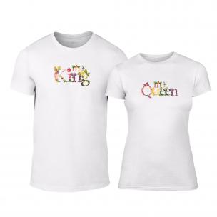 Тениски за двойки My King My Queen бели