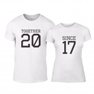 Тениски за двойки Together Since 2017 бели