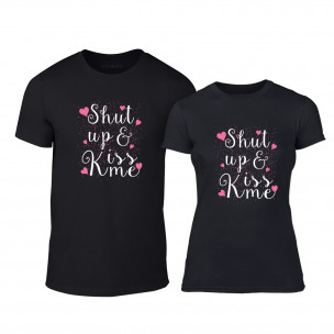 Тениски за двойки Shut up & Kiss me черни