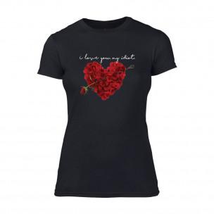 Дамска черна тениска Roseheart