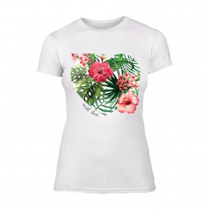 Дамска бяла тениска Exotic Flowers