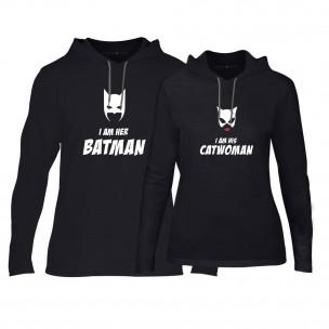Суичъри за двойки Batman & Catwoman в черно