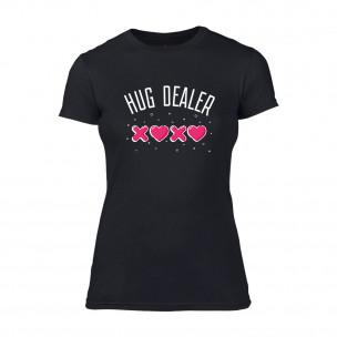 Дамска черна тениска Hug Dealer