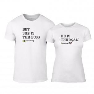 Тениски за двойки The Man & The Bossy бели