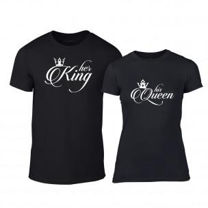 Тениски за двойки King & Queen черни TEEMAN