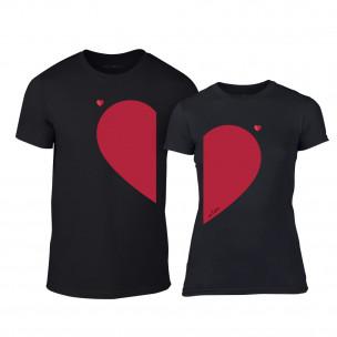 Тениски за двойки Half Heart черни TEEMAN