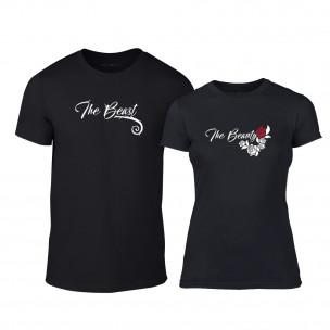 Тениски за двойки Тhe Beauty & The Beast черни