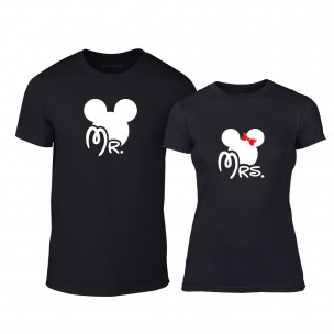 Тениски за двойки Mr. Mickey Mrs. Minnie черни TEEMAN