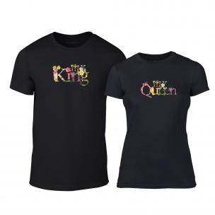 Тениски за двойки My King My Queen черни