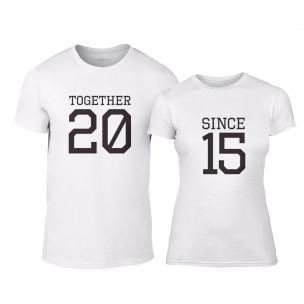Тениски за двойки Together Since 2015 бели